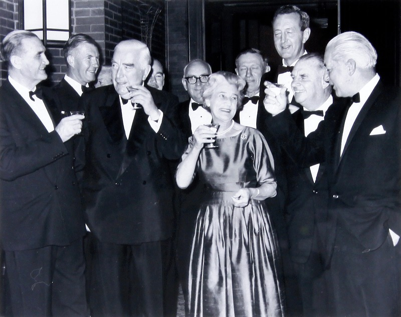 Dame Pattie Menzies and Sir Robert Menzies at their farewell in 1966, with John McEwen (left) and Harold Holt (right).