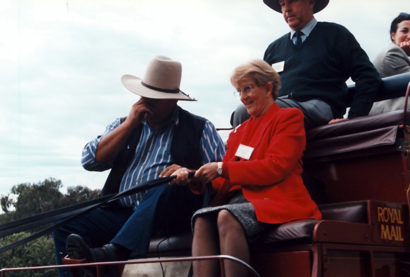 Hazel Hawke pictured during a Council visit to Tenterfield in 1998 with Cobb & Co. coach driver Paul Petrie.