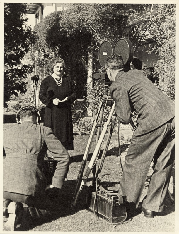 Enid Lyons, seen here being interviewed by the media, was admired for her ability to 'sway a crowd.'
