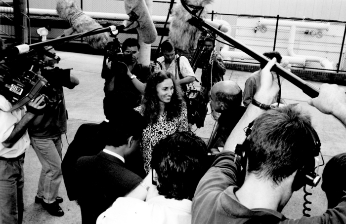 Annita Keating surrounded by the media on her first solo public engagement, February 17, 1992.